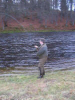 Alistair into a fish on the Lurig, river Spey.