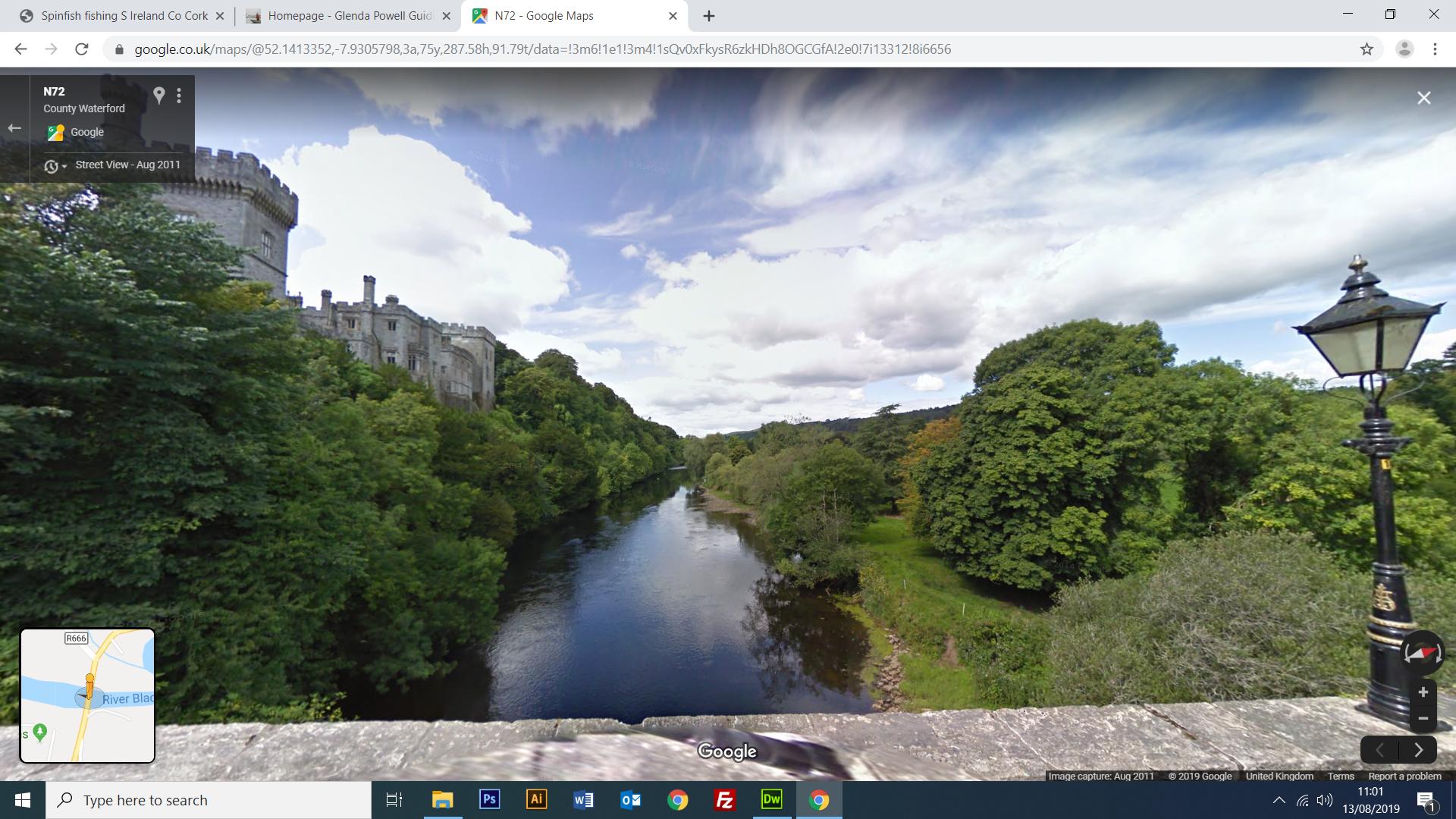 Google Street View the river Blackwater at Lismore Castle