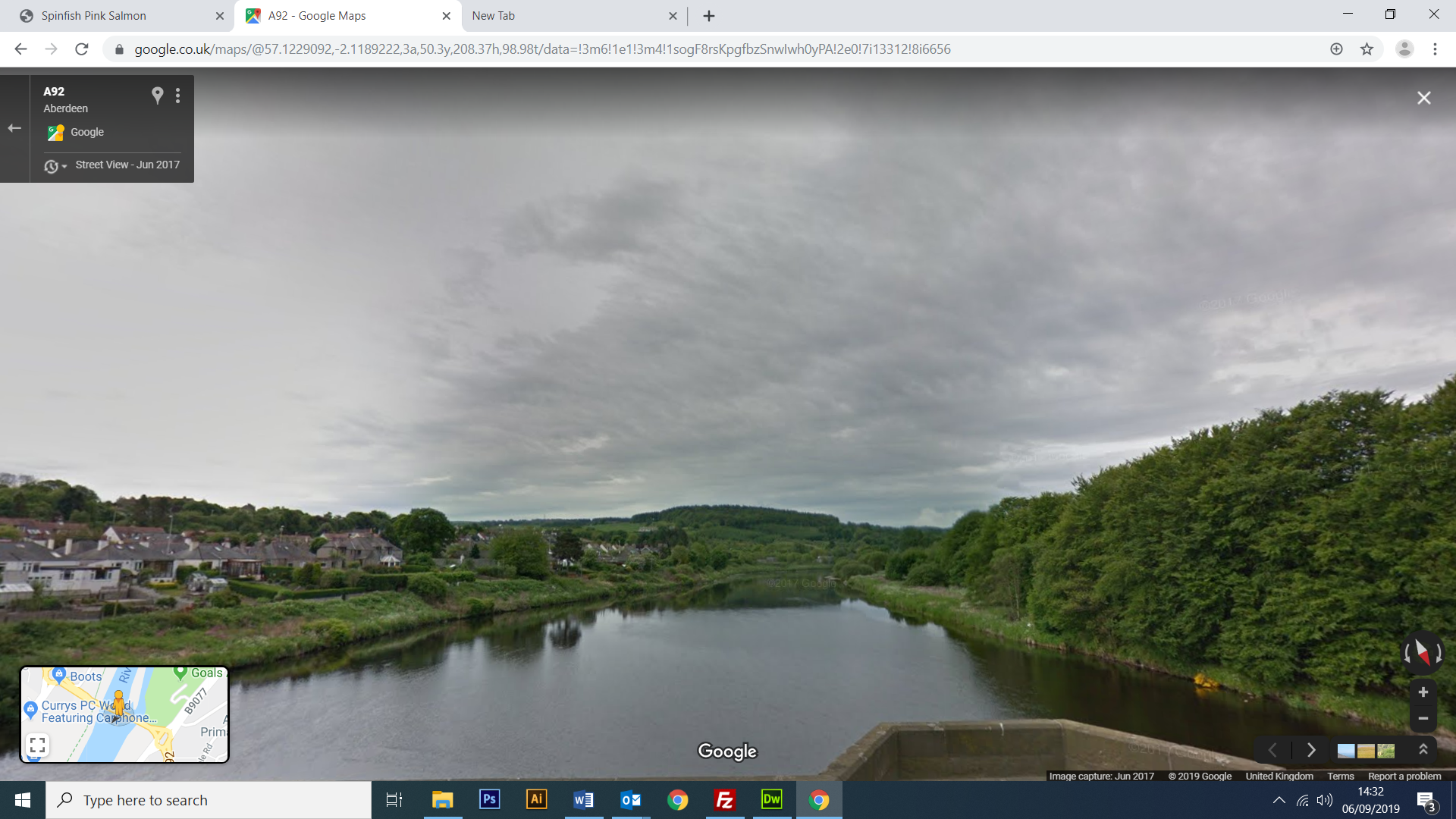 Google Street View the Dee at Garthdee. In low water thsi pool can be packed with fish just off the tide.