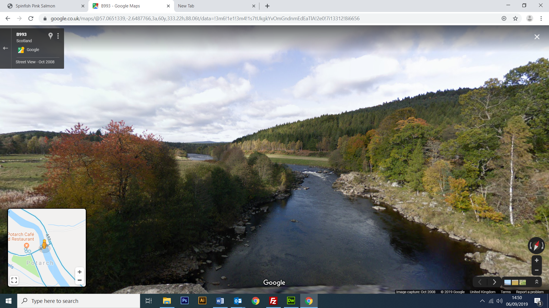 Google Street View The Falls of Feugh near Banchory