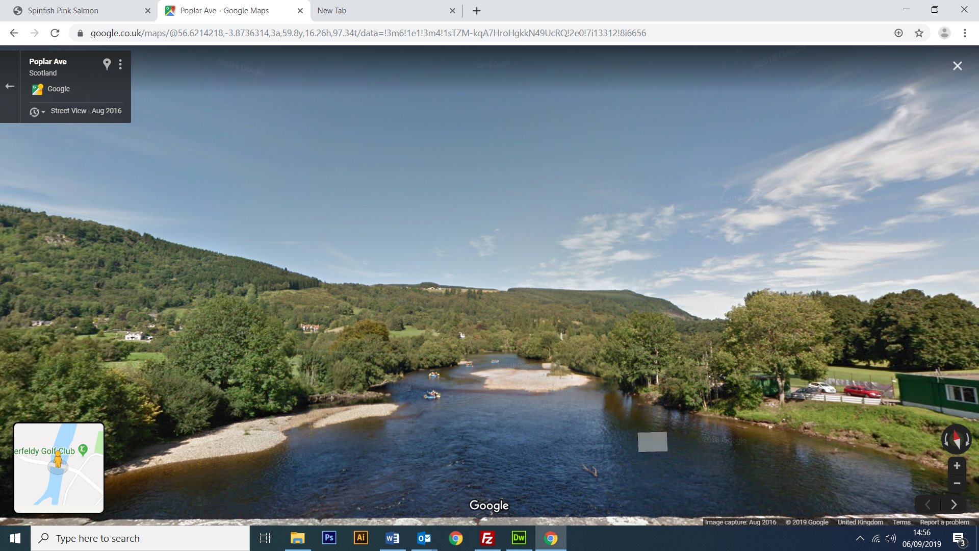 Google Street View the River Tay at Aberfeldy from the Wade Bridge