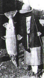 Mrs 'Tiny' Morrison with her record fly caught salmon from the Deveron