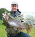 A Chew Lake rainbow caught by Nik Long