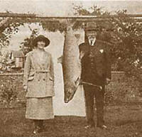 Goergina ballantyne with her British Record salmon of 64lbs from the Tay
